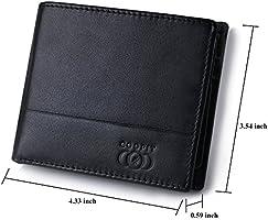 Cartera Hombre,Coofit Carteras Cuero Billetera Hombre Estilo Plegable Monedero-Bloqueo RFID - Regalo para el Hombre