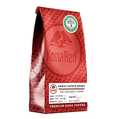KonaRed USDA Certified 100% Kona Coffee, Medium Roast, Ground