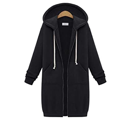 Womens Winter Casual Zip up Coat Hoodie Cardigan Outwear Jacket ...