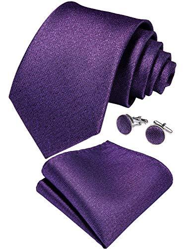 (DiBanGu Mens Silk Tie Purple Pocket Square Necktie Cufflink Set Woven Solid Wedding Ties)