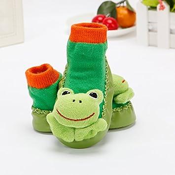 XIU*RONG Bebé Calcetines Calcetines De Algodón Zapatos Viejos 0-1 Recién Cálido Suave Antideslizante Sin Hueso Inferior Piso Alto Calzado (1 Pares): ...