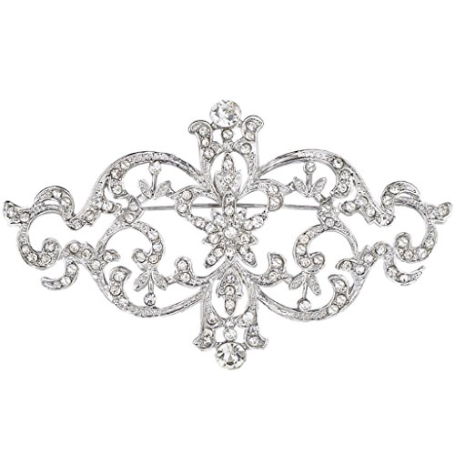 EVER FAITH Silver-Tone Austrian Crystal Wedding Floral Leaf Vine Brooch Pin Clear (Leaf Pin Floral)