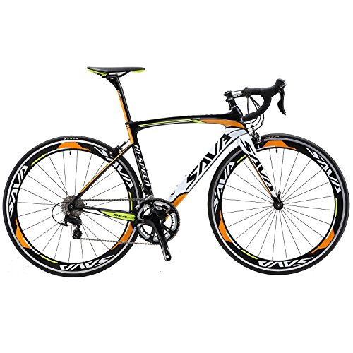 SAVADECK Carbon Road Bike, Warwinds3.0 700C Carbon Fiber Racing Bicycle with Shimano SORA 18 Speed Derailleur System and Double V Brake