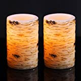 "Bingolife Real Wax Birch Bark Effect Flameless LED Candles 3.25"" x 5"" with Remote Control & Timer - Set of 2"