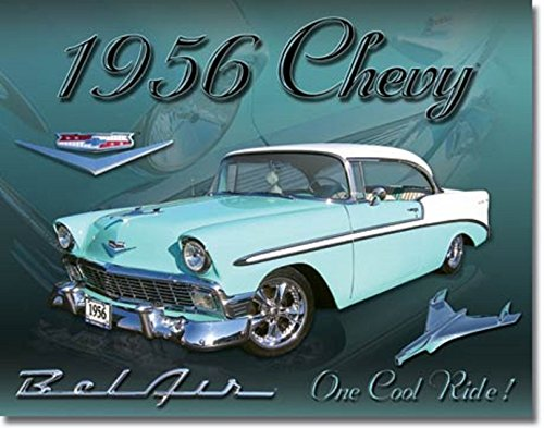 1956 CHEVROLET BEL AIR ONE COOL RIDE TIN SIGN MEASURES 12.5