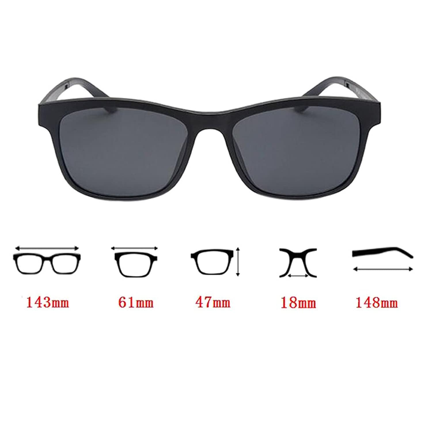 Haodasi EyeBrille Full Frame With Magnet Clip Polarisiert Sonnenbrille Dual-use Brille loXT9oK