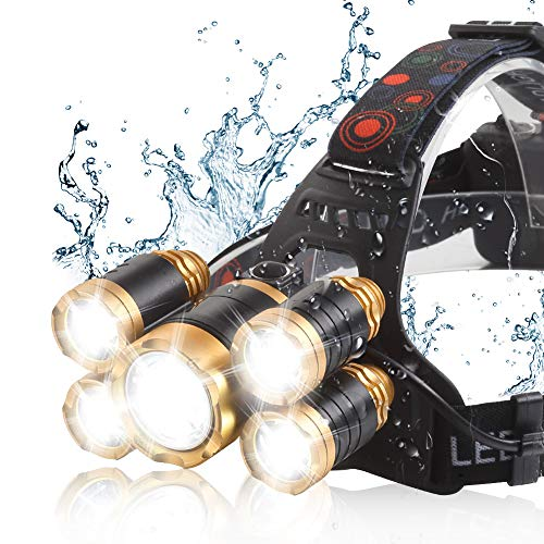 Headlamp 13000 LM Ultra Bright CREE LED Zoomable Work Headlight micro-USB Rechargeable, 4 Modes Waterproof Head Lamp Best Headlamps for Camping Hiking Hunting Outdoors