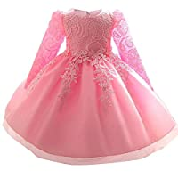 eleganceoo Little Big Girls Party Gown Princess Lace Dress(Pink 100cm(3 Years))