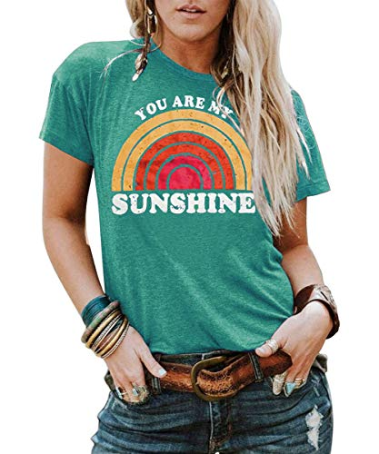 - Kaislandy Womens You are My Sunshine T Shirt Short Sleeve Printed Graphic Tees Casual Summer O Neck Tops Shirts Green