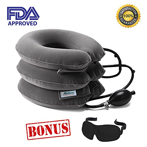 Maldora Cervical Neck Traction Device FDA Registered ✮ Inflatable Pillow Effective and Instant Relief for Chronic Neck & Shoulder Pain with Adjustable Size (Gray) ✮ Bonus Sleep (Overdoor Cervical Traction Device)