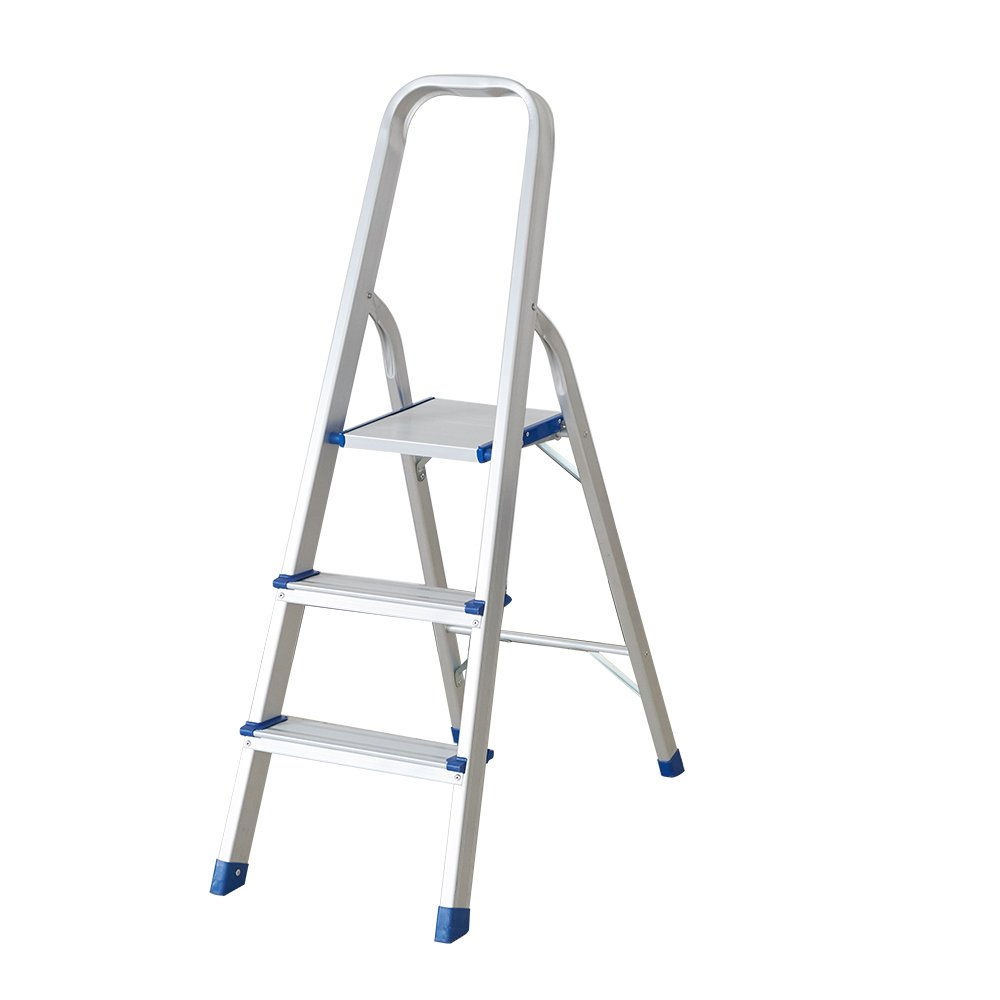 "Dporticus 3 Step Non-Slip Aluminum Ladder Folding Platform Stool with 330 lbs Load Capacity Silver, 23"" Height to Platform"