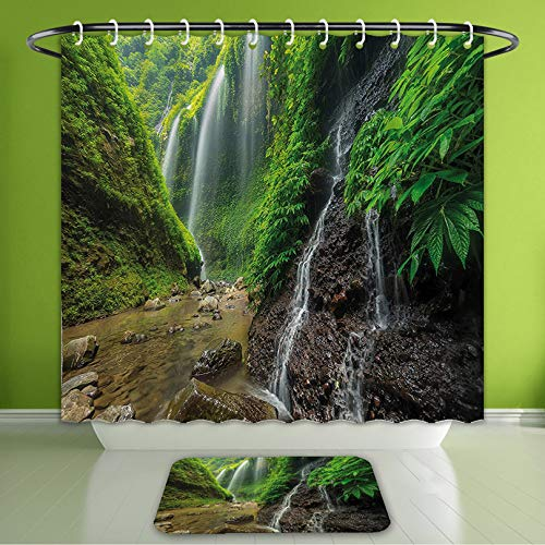 (Waterproof Shower Curtain and Bath Rug Set Waterfall Decor Waterfalls Side Valley in Indonesia with Asian Bushes Above The Hills Green and Bath Curtain and Doormat Suit for Bathroom 60
