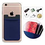 Genko Card Sleeve Stick to Wallet ID Holder Credit Card Pocket 3M Adhesive Mobile Phone Case Cellphone Pouches For iPhone and Android Smartphones-Blue