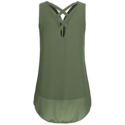 Camisetas verano mujer,❤️Ba Zha Hei Tops sin mangas con espalda cruzada y espalda