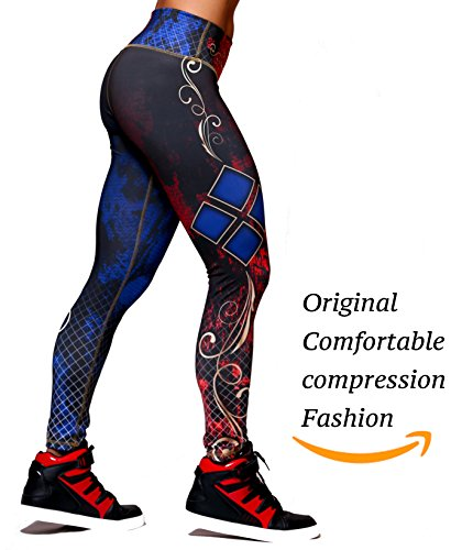 Active4U Superhero Crossfit Leggings Women Colombian Yoga Pants Compression Tights (Large-XL, Harley (Harley Womens Activewear)