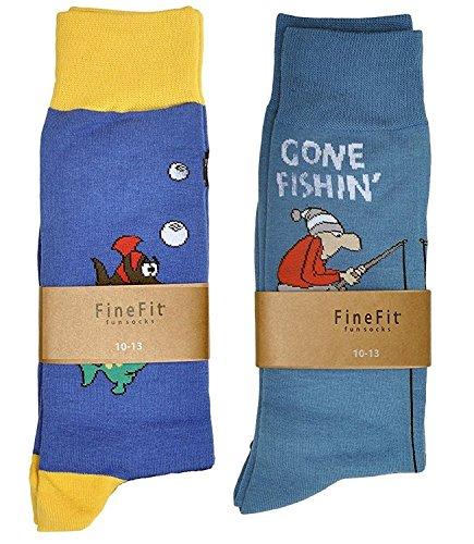 Fine Fit Mens Novelty Print Trouser Socks 2 Pair Set (Fishing)