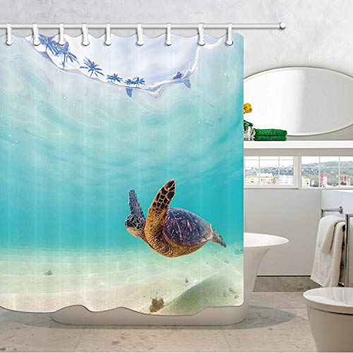 (JAWO Turtle Shower Curtain for Bathroom, Sea Animal Hawaiian Ocean Underwater Scuba Diving Nature Polyester Fabric Bath Curtains with Hooks 69X70 Inches  )