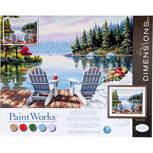 Dimensions 73-91729 PaintWorks Paint by Numbers Kit for Adults and Kids, Lakeside Morning, 20'' x 16''