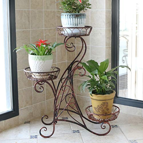 (C&Q CQ Simple European Wrought Iron Multi-Layer Balcony Flower Stand Living Room Floor-Standing Flower Pot Rack Indoor Flower Shelf Plant Stand (Color : Red Copper))