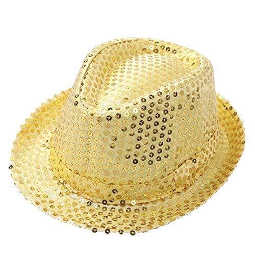 iEFiEL Children Boys Girls Sequins Fedora Hat Hip Hop Jazz Latin Street Dance wear Costume Cap Accessories Yellow One -