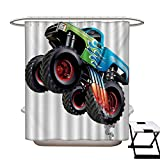 Cars Mildew Resistant Shower Curtain Liner Cartoon Monster Truck Cool Vehicle Modified to The Perfection Colorful Design Eco Friendly,Rust Proof Grommets Holes Aqua Green Black72×84'