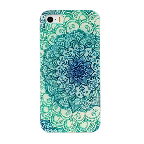 Ukamshop für iPhone 5 5s schön retro grün Totem Blume TPU hülle Tasche case cover