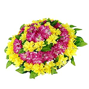 Fenteer Artificial Canvas Flowers Wreath Chrysanthemum Funeral Headstone Cemetery Arrangements for Memorial Day Accessory 78