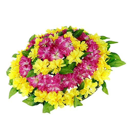 Fenteer Artificial Canvas Flowers Wreath Chrysanthemum Funeral Headstone