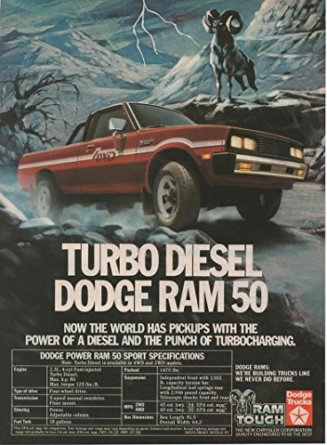 (Magazine Print Ad: Red 1983 Dodge Ram 50 Turbo Diesel Pickup Truck,