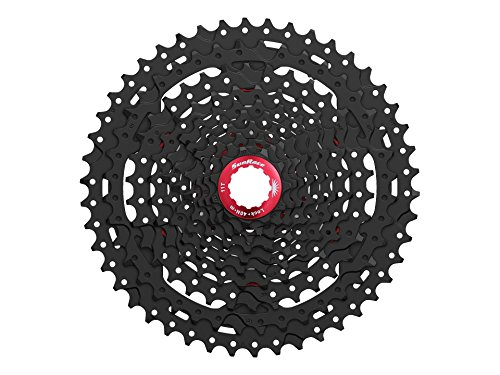 Sunrace 10-speed 11-46T cassette CSMX3 wide ratio MTB in Black with rear derailleur link by (30 Full Suspension Mountain Bike)
