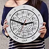 VTH Global 12 Inch Silent Battery Operated Music Circle of Fifths Wood Wall Clocks Music Gifts Musical Wall Decor (Circle of Fifths)