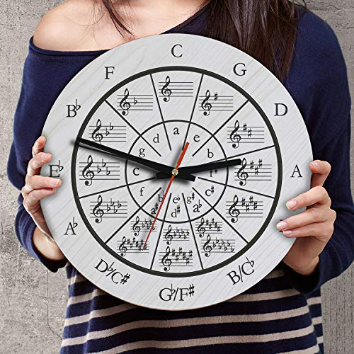 (VTH Global 12 Inch Silent Battery Operated Music Circle of Fifths Wood Wall Clocks Birthday Music Teacher Gifts for Men Women Teachers Instructors Singers Musicians Pianists Guitarists Students)