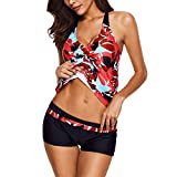 Women¡¯s Tankini Printed Two Piece Swimsuit Set|Halter Tank Top with Solid Bottom Red
