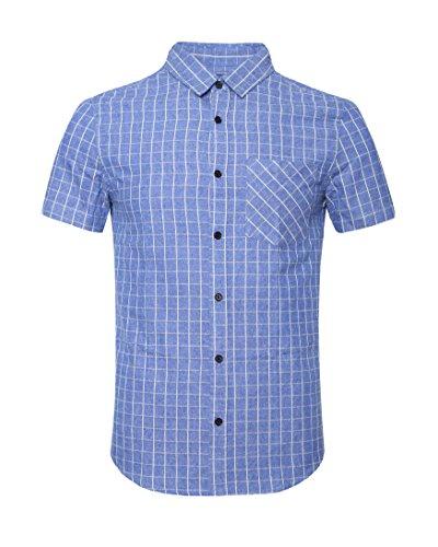 SOOPO Men's Casual Short Sleeve Button Down Shirts Bar Plaid Shirt 100% Cotton Blue (Madras Plain Front Short)