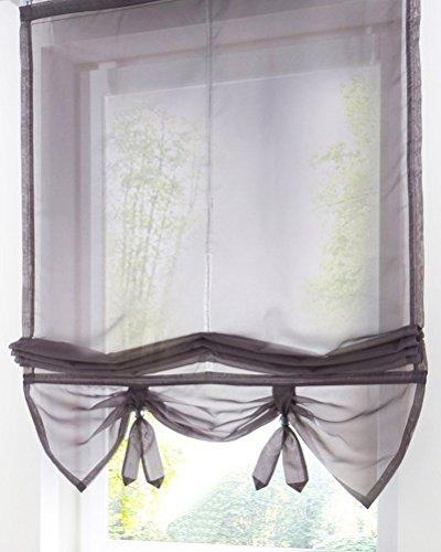 (LivebyCare Lifable Sheer Roman Shades Rod Pocket Balcony Window Balloon Curtain Voile Drape Drapery Valance Panels for Dinning Room Decorative)