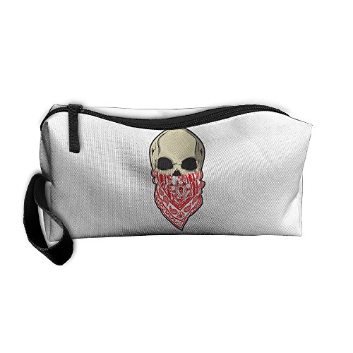 Cosmetic Bags Brush Pouch Makeup Bag Red Bandana Skull Face Zipper Wallet Hangbag Pen Organizer Carry Case Wristlet -