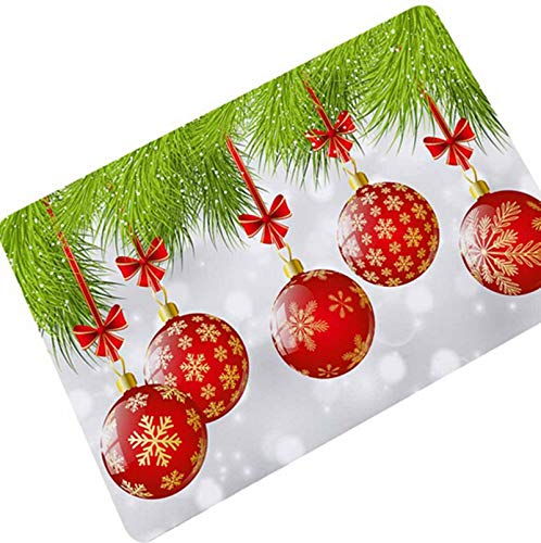 (KnBoB Bath Rug Mold Resistant Christmas New Year Featival Pattern Colorful Ball 45X75Cm)