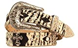 Nocona Women's Zebra Print Hair On Hide Cross Concho Studded Leather Belt Zebra Medium