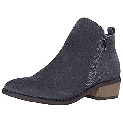SheSole Women's Leather Ankle Boots Stacked Heel Bootie New Dark Grey US 9.5