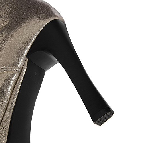 rivet with Toe Womens M Solid 7 and PU Soft Boots Material High Closed Round AmoonyFashion Silver PU Heels US Stiletto B ZSAxq
