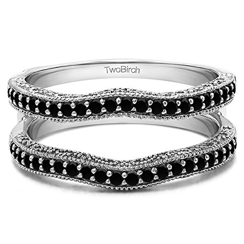 Contour Ring Guard with Millgrained Edges and Filigree Cut Out Design with 0.26 carats of Black Diamonds in Sterling Silver by TwoBirch