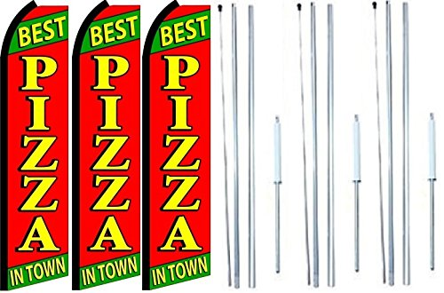 Best pizza In Town King Swooper Feather Flag Sign Kit With Complete Hybrid Pole set- Pack of 3 by OnPoint Wares