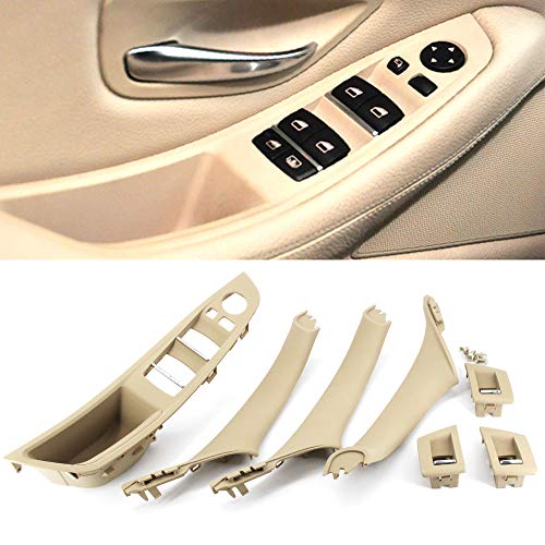 FEXON Driver Side Door Handle for BMW 5 Series,Window Switch Armrest Panel,Inner Pull Handle Trim Panel Cover Kits for 2010-2016 BMW 5 Series 520 523 525 528 530 535 F10 F11 Beige
