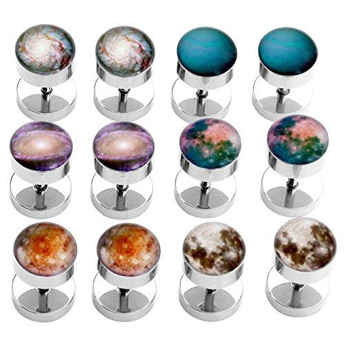 PiercingJ 2-12pcs 16G Solar System Galaxy Universe Stainless Steel Stud Barbell Earrings Illusion Ear Plug 0G Gauge Look from PiercingJ