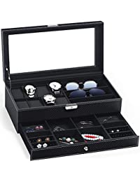 TomCare Upgraded Watch Box Watch Case Weave Pattern Watch Organizer Jewelry Case Drawer Sunglasses Display Box Earrings Storage Organizer Lockable with Glass Top and PU Leather for Men Women, Black