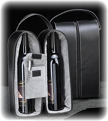 Bey-Berk Leather Wine Bottle Carrier Caddy Travel Tote Bag & Tool Set,Black
