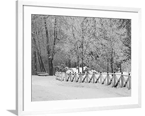 ArtEdge Winnipeg Manitoba, Canada Winter Scenes by Keith Levit, White Framed and Matted Wall Art Print, 24x32 in (Scenes Winter Manitoba Winnipeg Canada)