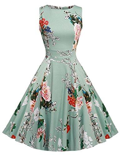 ZOEREA Women's Midi Dress Sundresses for Women Floral Prints Summer Clothing for Women (XL, Green2) (Dress Cotton Charm)