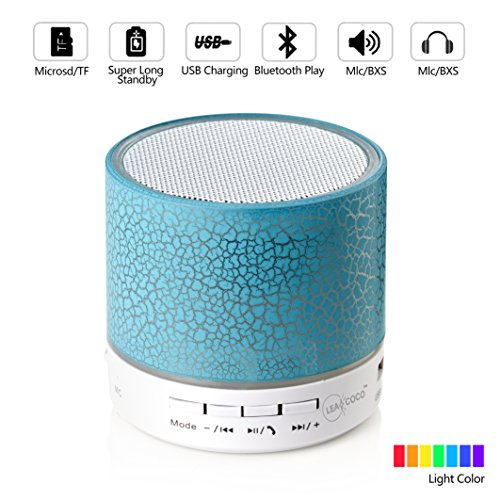 Leacoco Mini Wireless Portable Bluetooth Speaker With LED and Build-in Mic Support AUX TF for iPhone iPod and Android System Equipment Etc. (Blue)