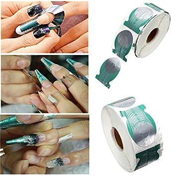 Hrph 500pcsroll Nails Extension Form Green Horseshoe Shape Nail Art